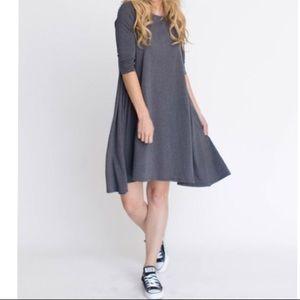 Dresses & Skirts - Ash grey 3/4 sleeves side pocket swing dress